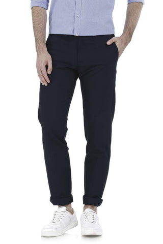 BASICS TAPERED FIT SALUTE NAVY COTTON TROUSER-17BCTR38205 - BasicsLife