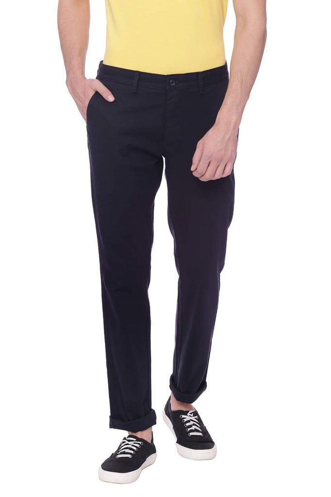 BASICS TAPERED FIT SALUTE NAVY STRETCH TROUSER-18BTR37482 (4491100192849)