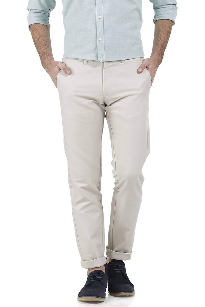 BASICS TAPERED FIT SAND SHELL COTTON TROUSER-17BCTR38209 (4490945953873)