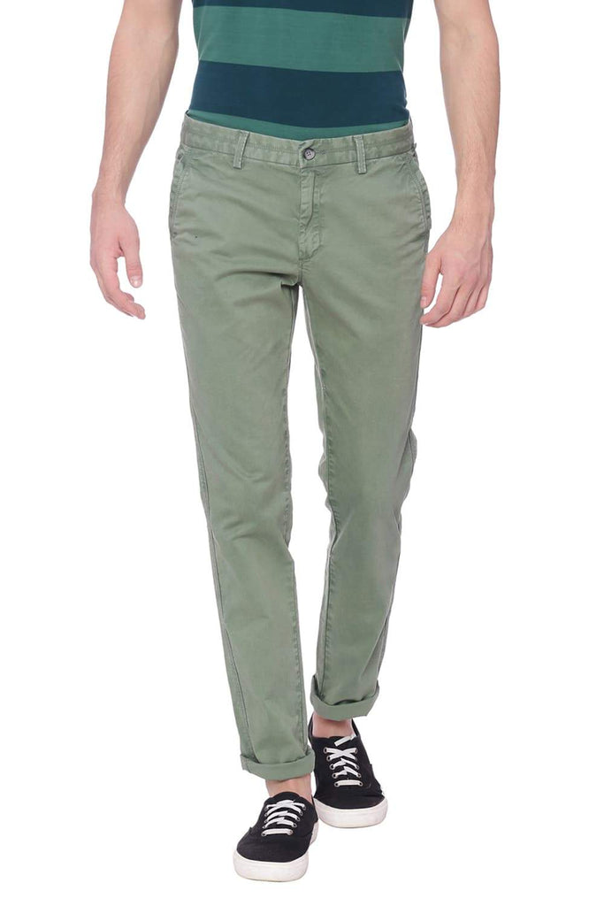 BASICS TAPERED FIT SEA SPRAY GREEN TWILL STRETCH TROUSER-18BTR37502 (4491053695057)