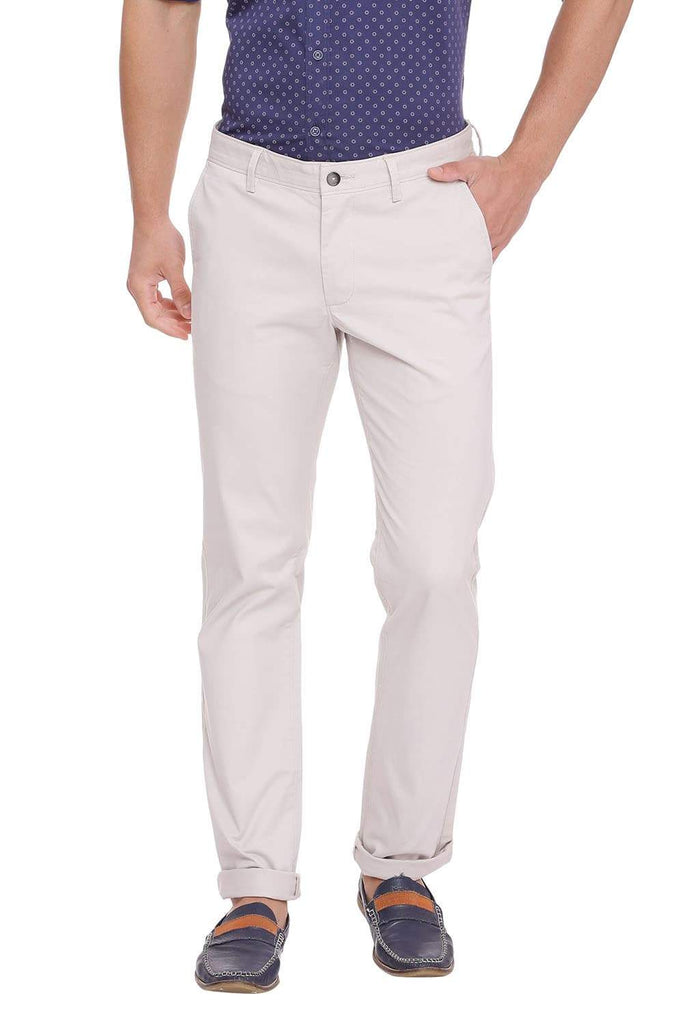 BASICS TAPERED FIT SILVER BIRCH STRETCH TROUSER-18BTR39879 (4491361124433)