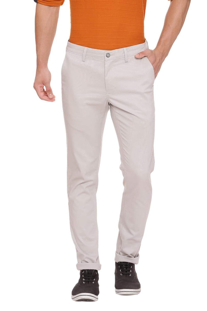 Basics Tapered Fit Silver Lining Stretch Trouser Front