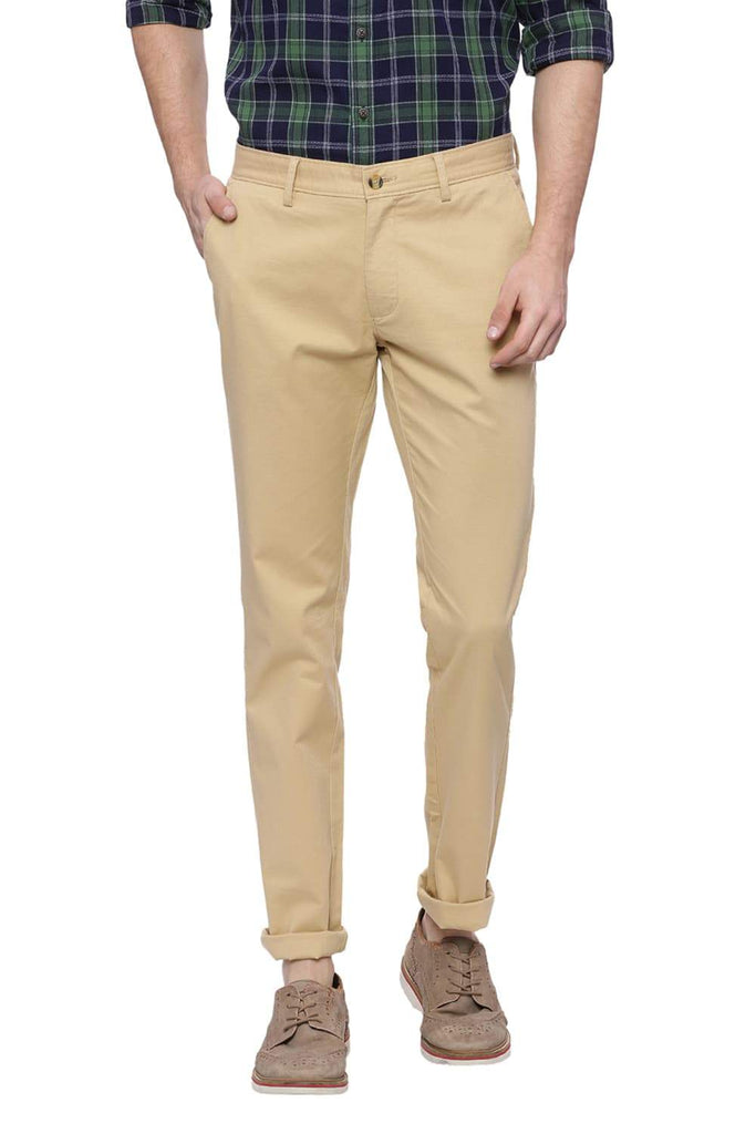 BASICS TAPERED FIT STARFISH KHAKI STRETCH TROUSER-18BTR37481