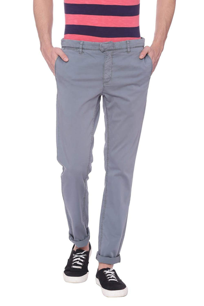BASICS TAPERED FIT STORMY WEATHER GRAY SATIN STRETCH TROUSER-18BTR37531 (4491054448721)
