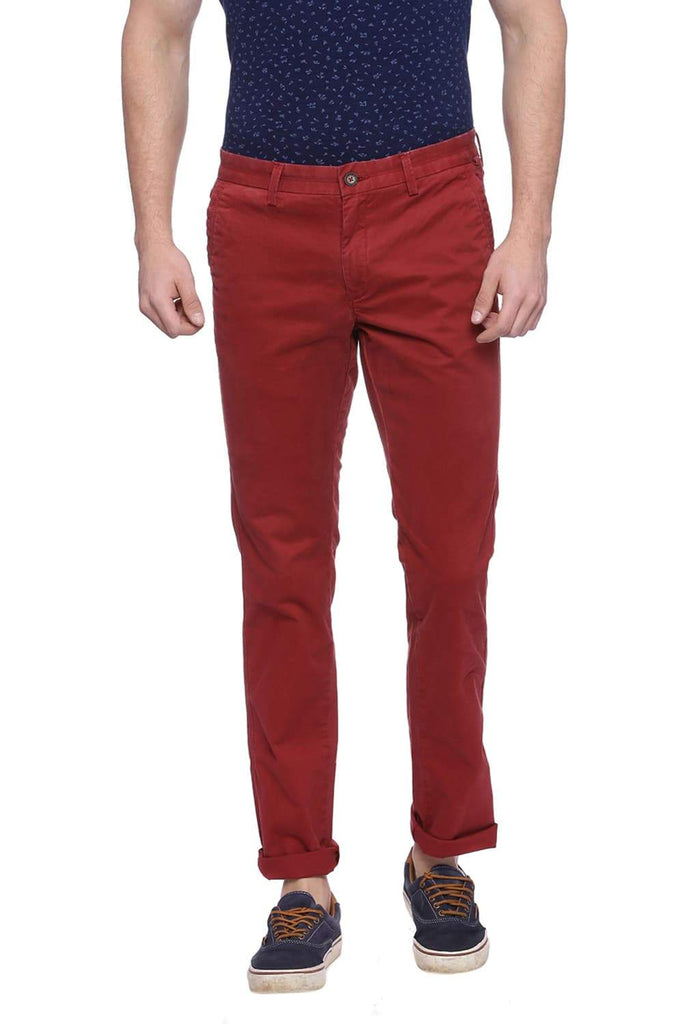 BASICS TAPERED FIT SYRAH RED TWILL STRETCH TROUSER-18BTR37498 (4491053170769)