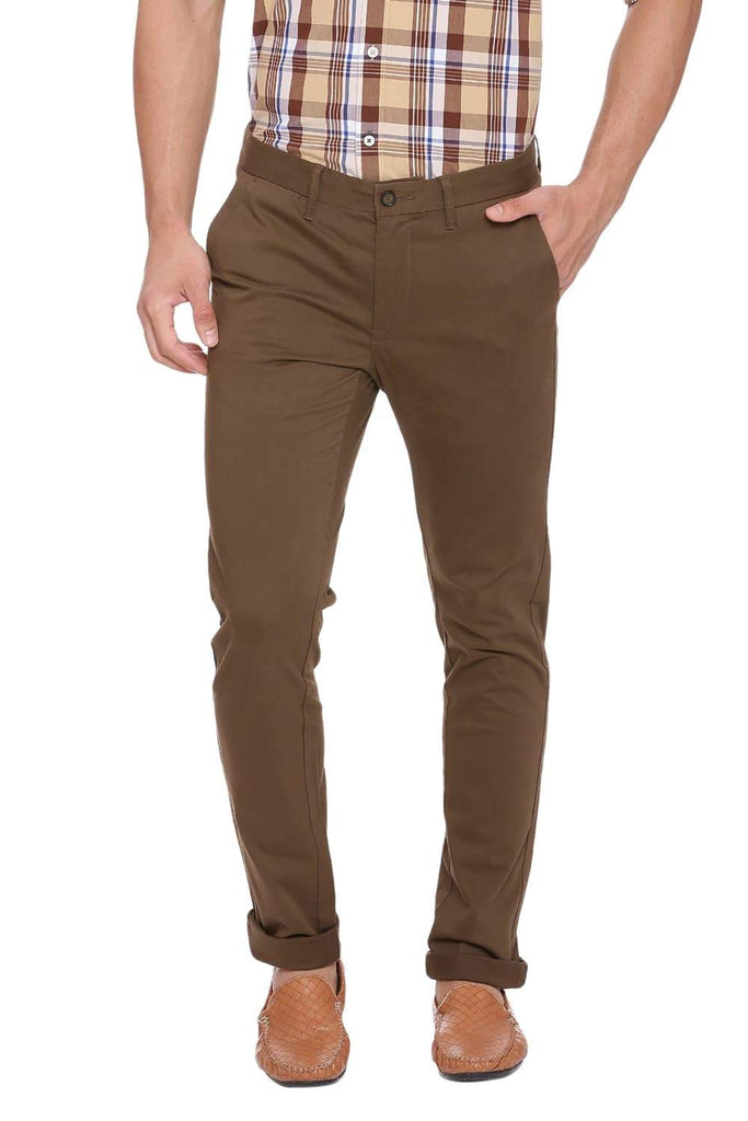 BASICS TAPERED FIT TARMAC BROWN STRETCH TROUSER-18BTR39129 (4491549966417)