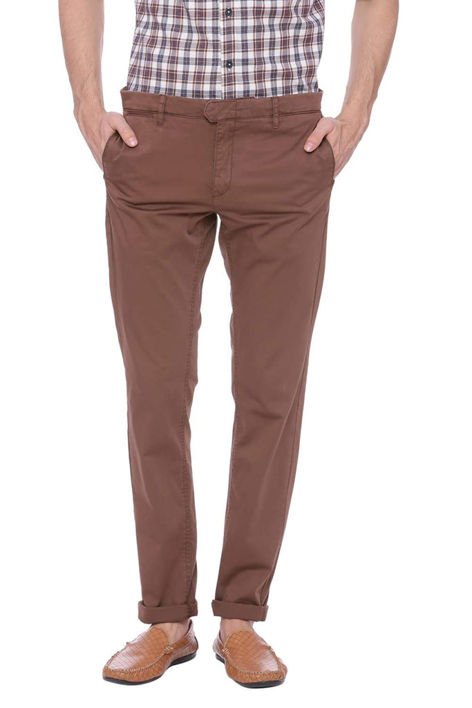 BASICS TAPERED FIT TEAK BROWN STRETCH TROUSER-18BTR37656