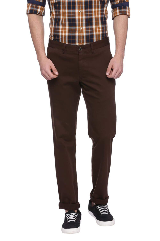 BASICS TAPERED FIT TEAK BROWN STRETCH TROUSER-18BTR38268