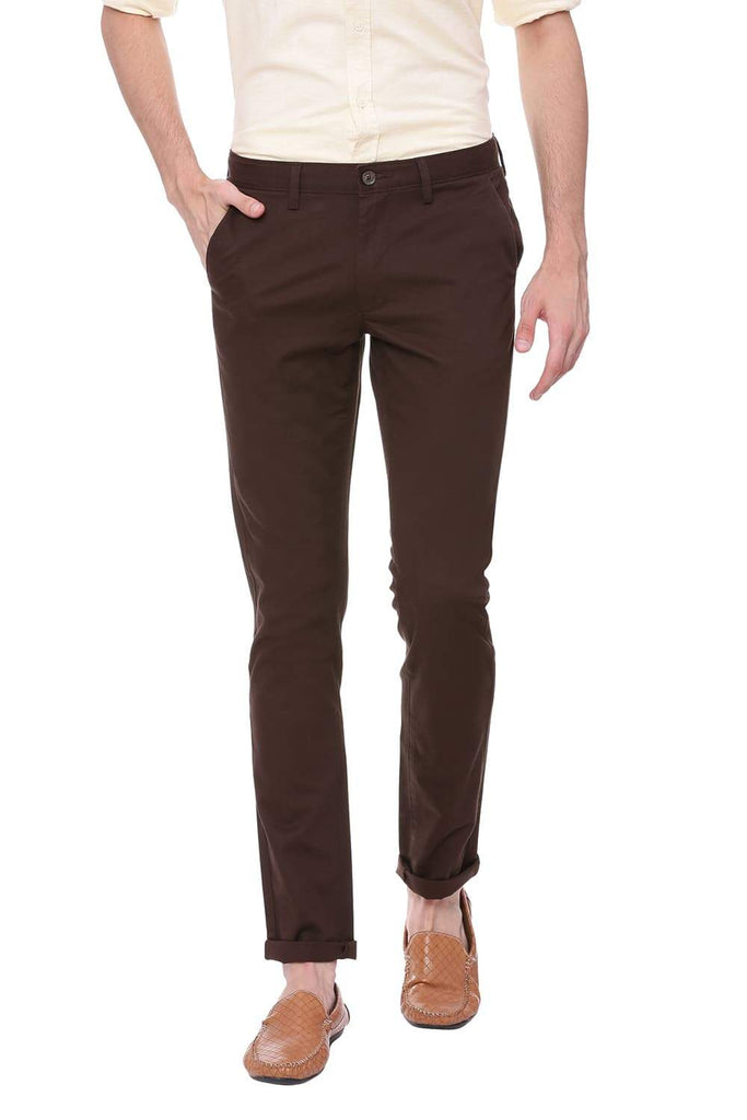 BASICS TAPERED FIT TURKISH COFFEE STRETCH TROUSER-18BTR39023 (4491549048913)