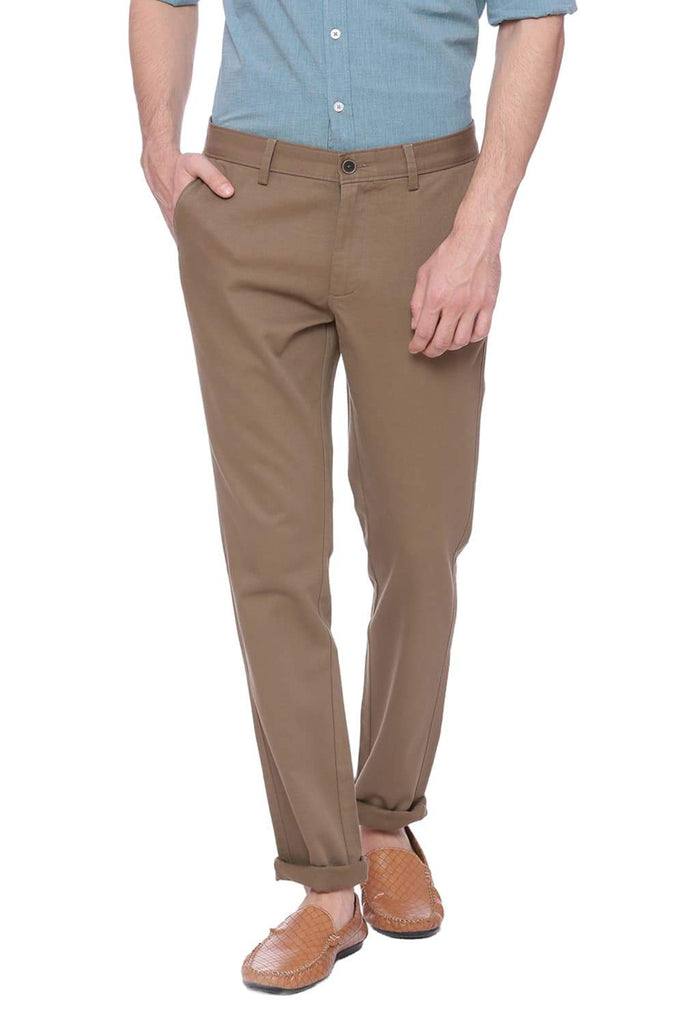 Basics Tapered Fit Walnut Brown Stretch Trouser Front