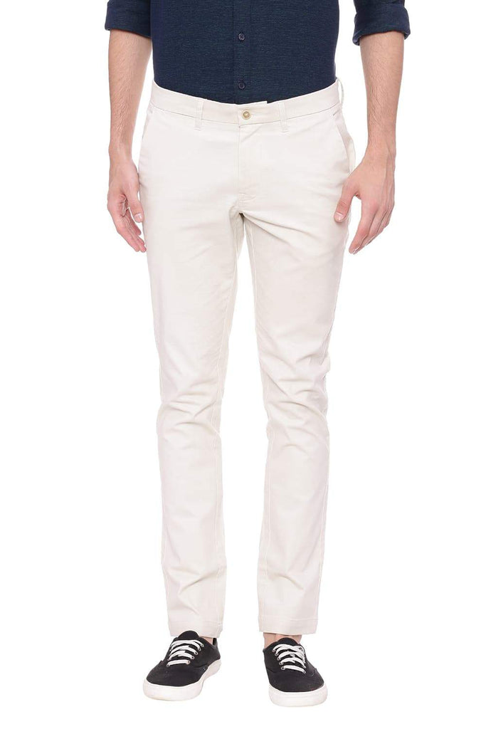 BASICS TAPERED FIT WHITE ASPARAGUS STRETCH TROUSER-18BTR39095 (4491549474897)