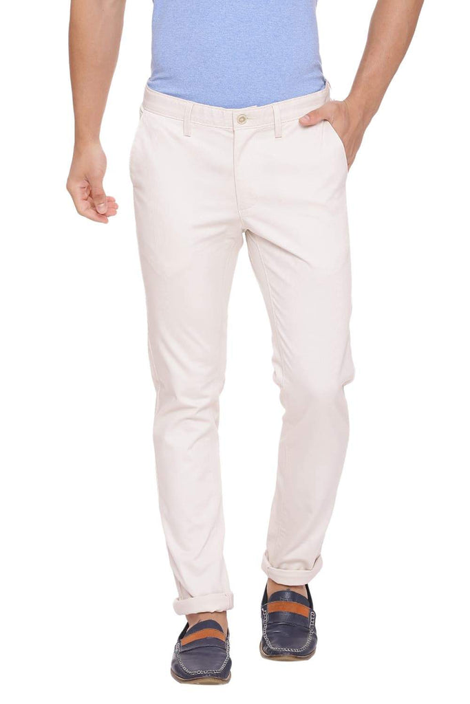 BASICS TAPERED FIT WHITE SWAN STRETCH TROUSER-18BTR39021 (4491305189457)