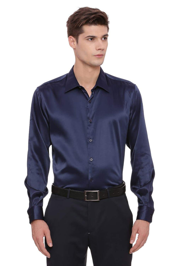 BASICS TRIM FIT NAVY SATIN STRETCH SHIRT-17BCFS39160 (4491117756497)
