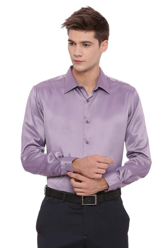 Basics Trim Fit Purple Satin Stretch Shirt Front
