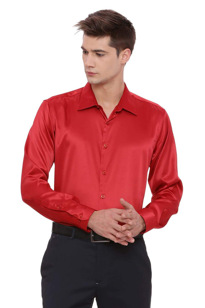 Basics Trim Fit Red Satin Stretch Shirt Front