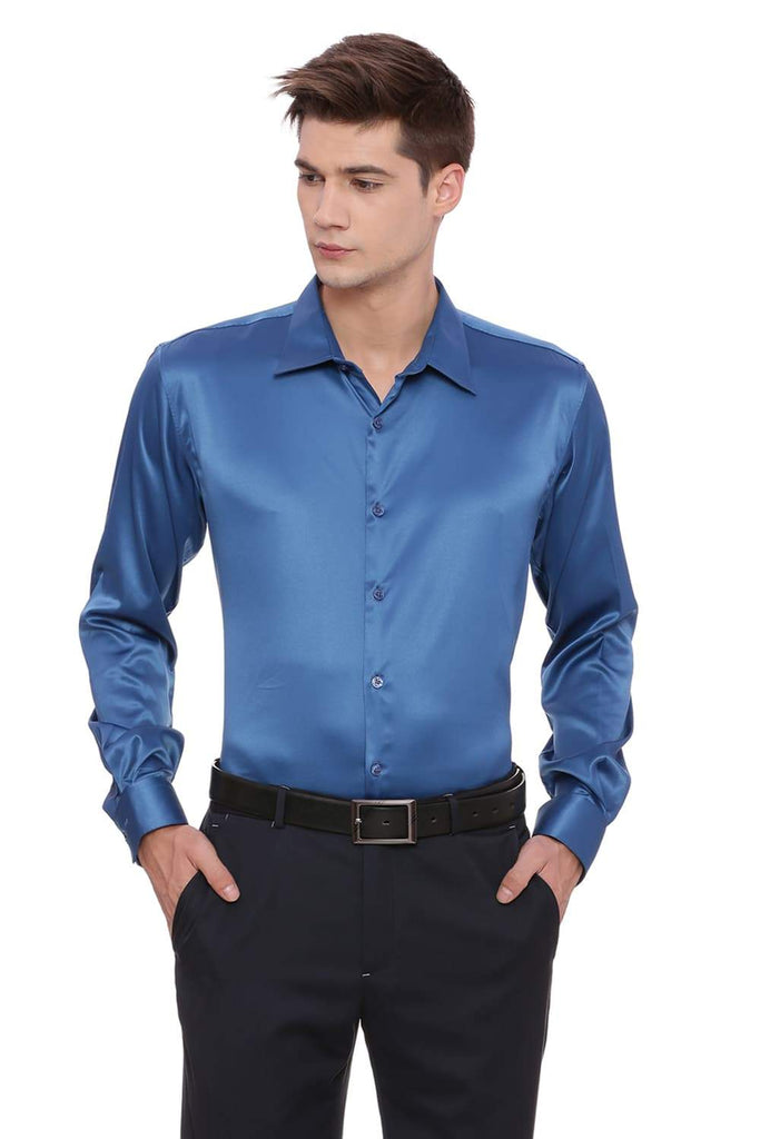 BASICS TRIM FIT TURQUOISE SATIN STRETCH SHIRT-17BCFS39157