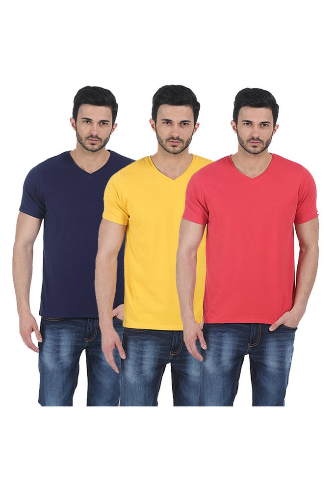 BASICS V - NECK  MUSCLE FIT HALF SLEEVES TEES-17BCTS38187 (4490949394513)