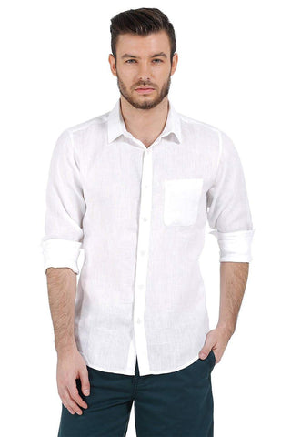 BASICS WHITE SLIM FIT LINEN CASUAL SHIRT-17BCSH38217 (4490921967697)