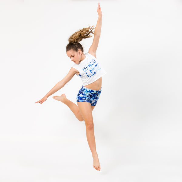 Flo Active Teen Dancer in Dance Life Tank with Blue Tie Dye Print
