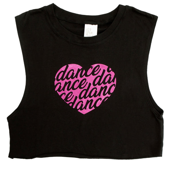 Flo Activewear Teen Crop Tank with Heart Dance Print