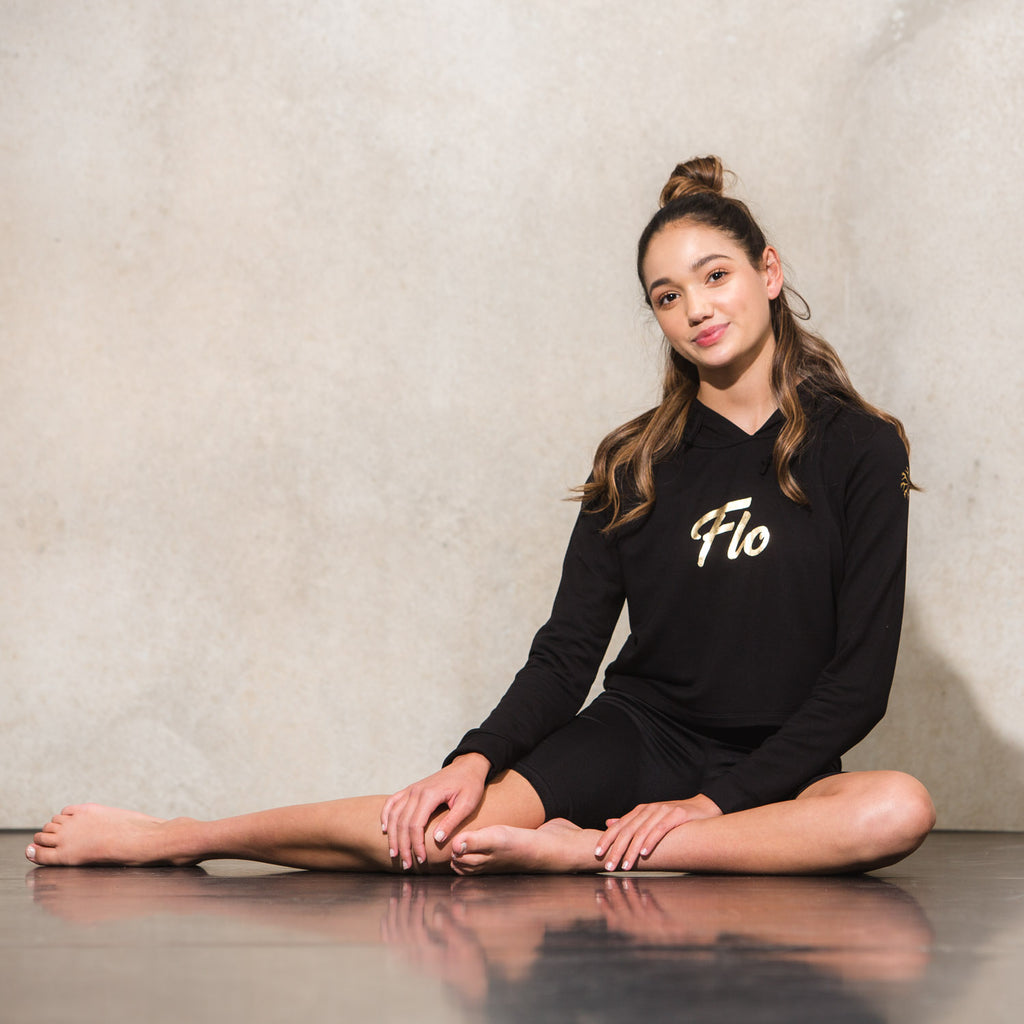 Flo Activewear Teen Crop Hoody in Black with Gold Print