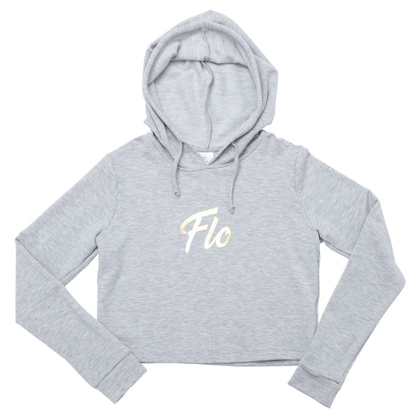 Flo Activewear Teen Crop Hoody in Grey with Gold Print