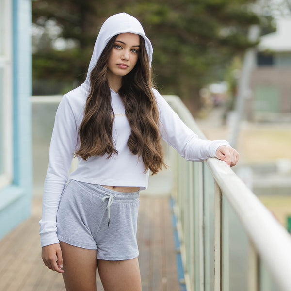 Flo Activewear Teen Low Key Crop Hoody in White