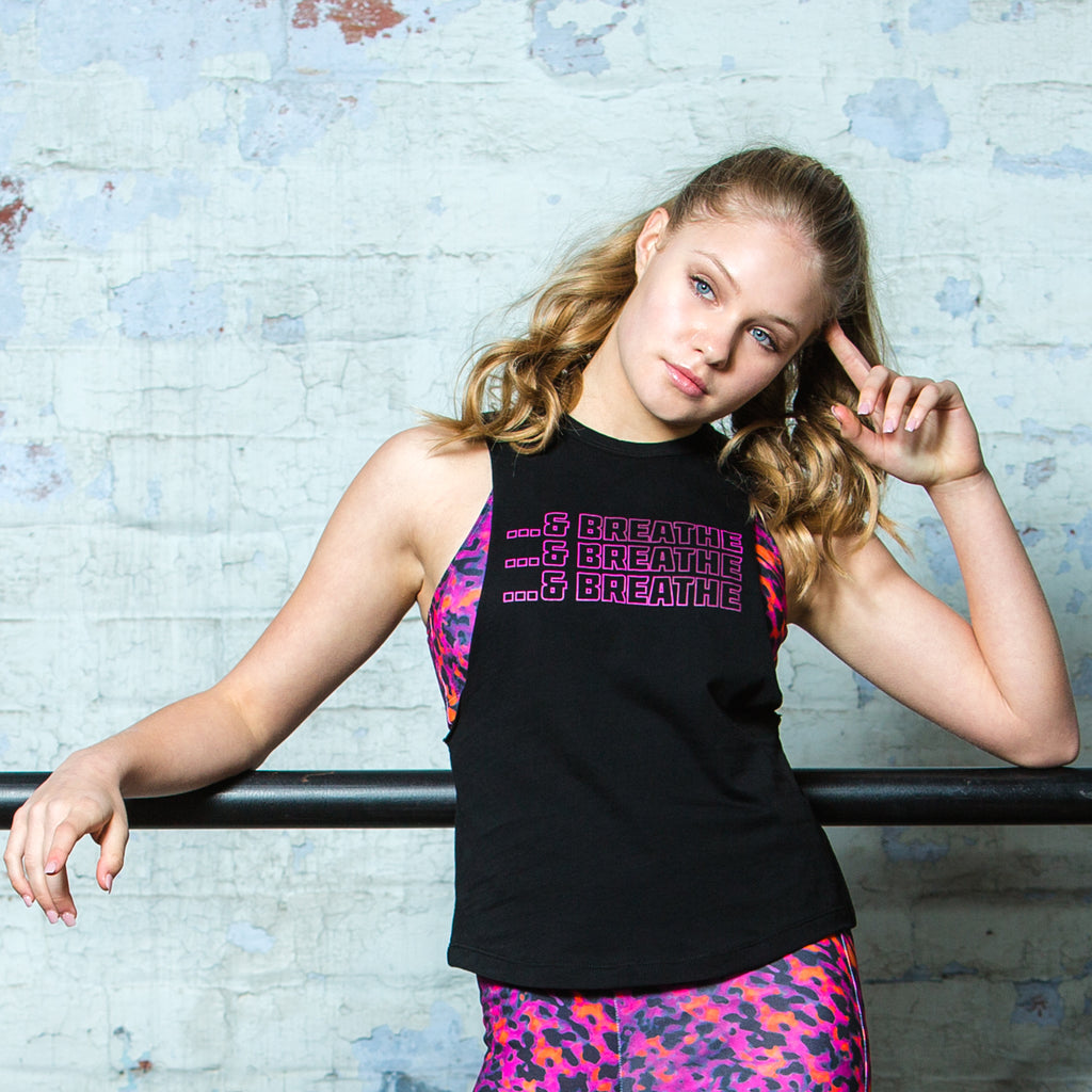 Muscle Tank in Black with 'Breathe' Print