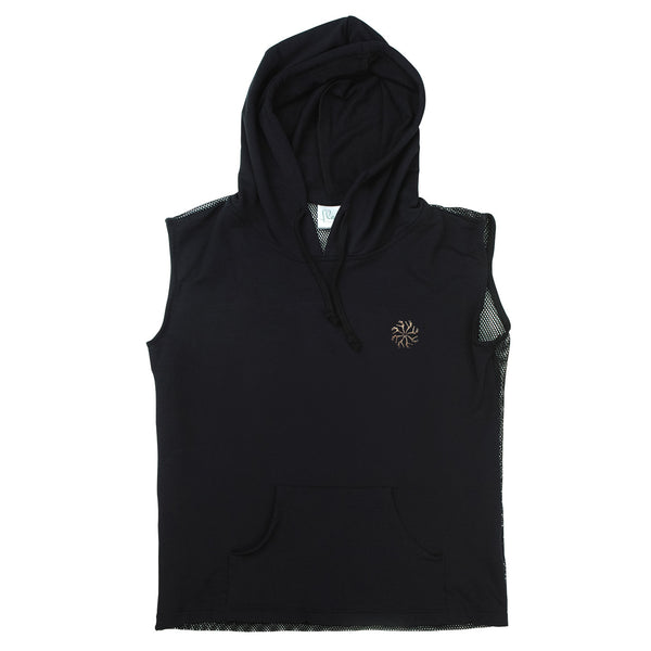 Sleeveless Mesh Back Hoody in Black
