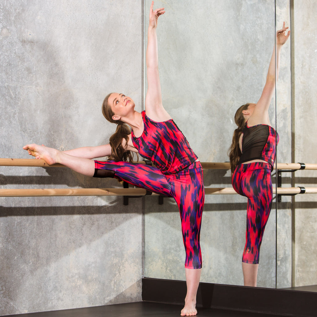Flo Active Capri Legging in Red Haze Print Dancer