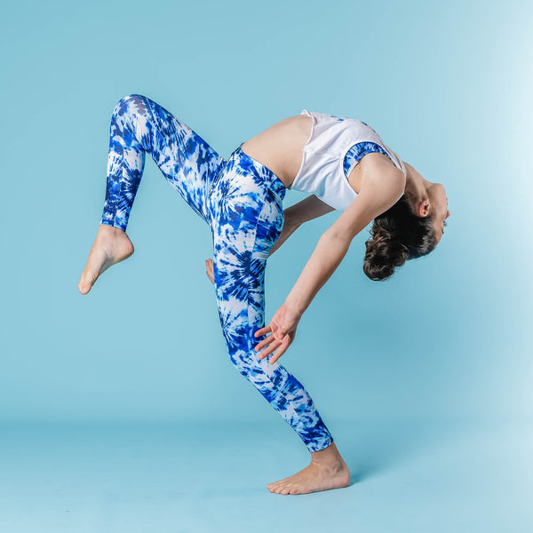 Flo Active Teen Girl Leggings in Blue Tie Dye