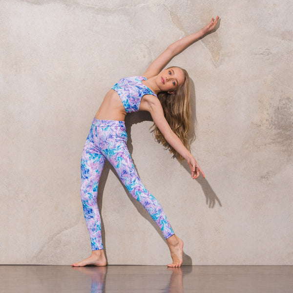 Flo Activewear Teen Long Pastel Swirl Printed Legging