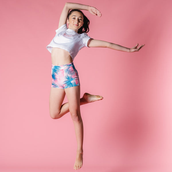 Flo Activewear Teen Dancer in Tropical Leaves Print Active Shorts