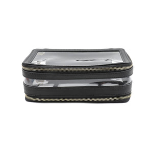 Global Commuter. MEL. Black 2 compartment toiletry bag with elastic straps to hold your brushes.