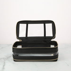 Global Commuter.  MEL.  Black 2 compartment toiletry bag with elastic straps to hold your brushes