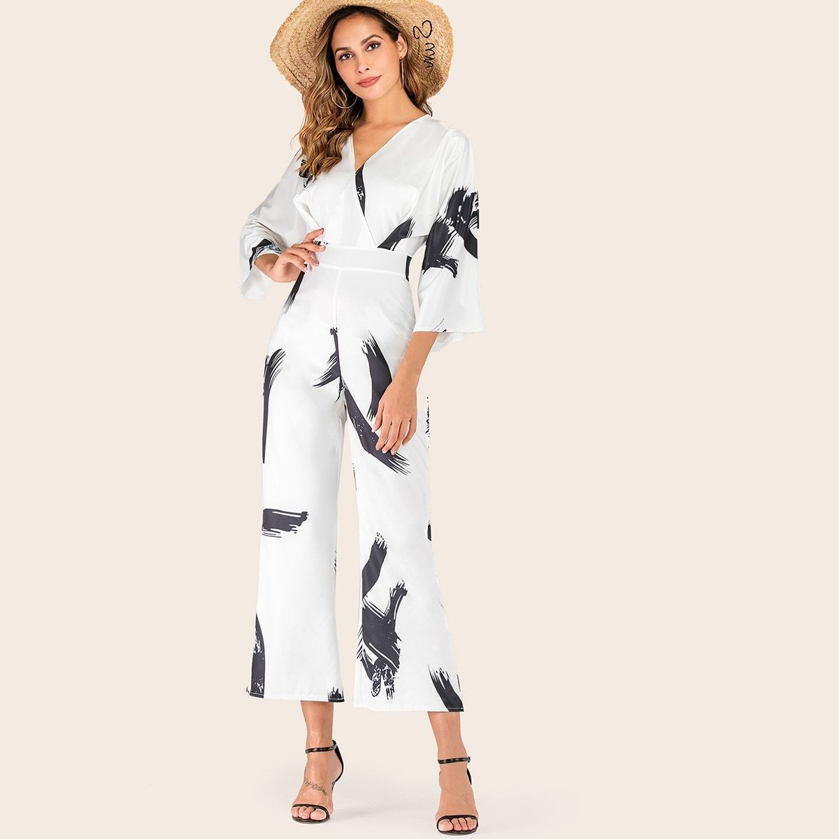 Brush Print Surplice Flare Leg Jumpsuit