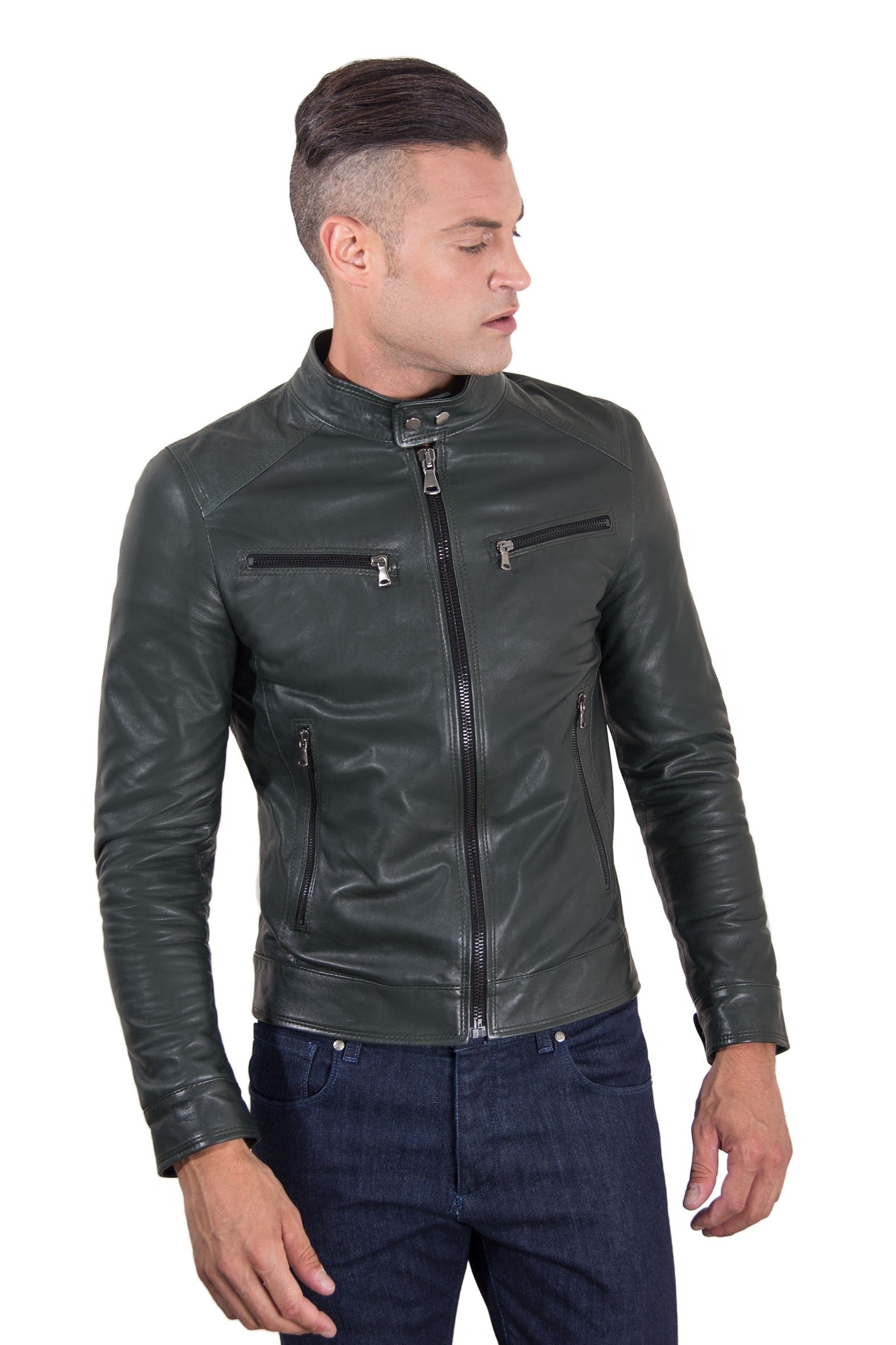 Men's Genuine Leather Biker Jacket Green Color