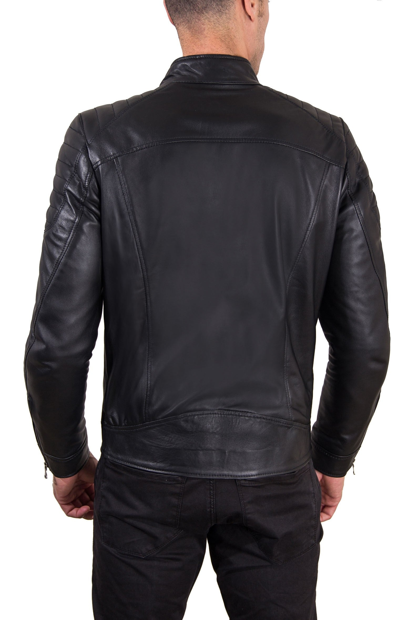Men's Leather Jacket  Genuine Soft Leather Biker Mao Collar Quilted Yoke Black Color U411