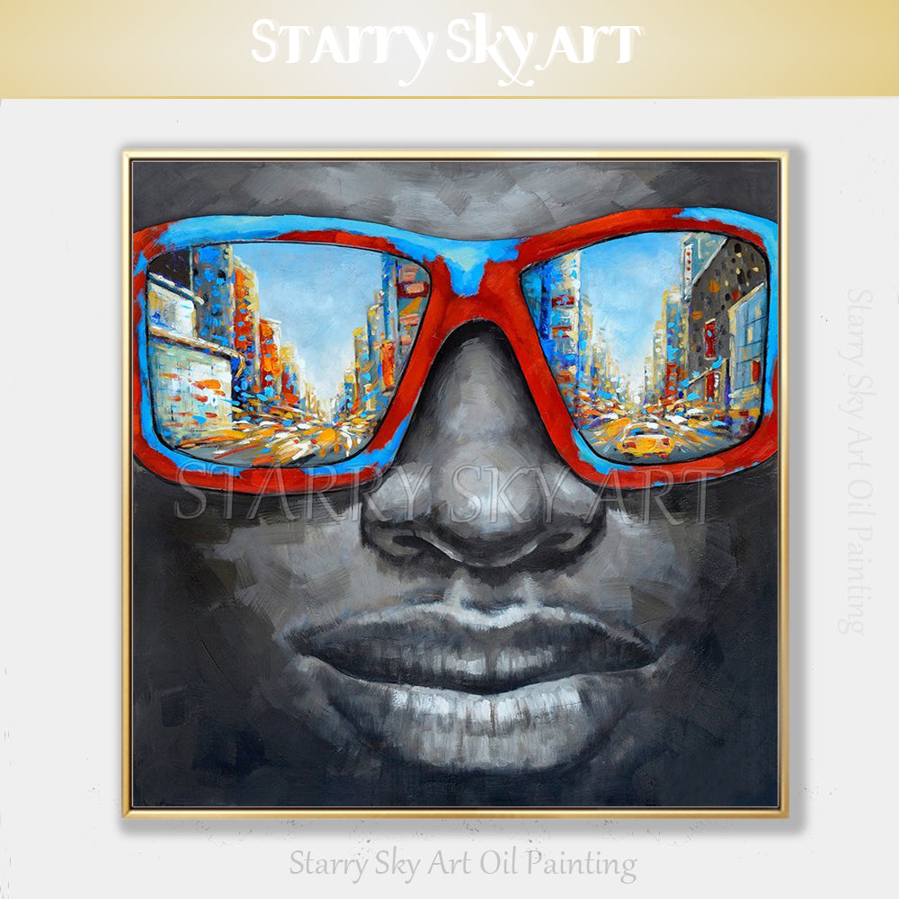 Oil Painting by Starry Sky Art on Canvas Man with Sunglasses NYC