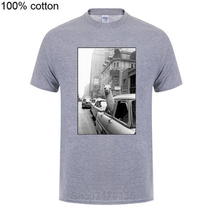 Fashion Short Sleeve T Shirt Alpaca In A Taxi On Times Square Printed 100% Cotton Top Tees Casual O Neck T-Shirt Unisex T Shirts