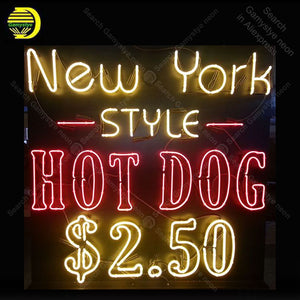 New York Style Hot Dog Neon Sign Handcraft Bar Display