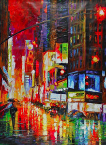 Modern Abstract Oil Painting on Canvas Handmade Landscape Wall Pictures Painting for Home Decor New York City Fine Arts