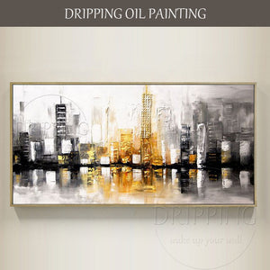 Excellent Quality Hand-painted Beautiful Textured City Building Oil Painting on Canvas Modern Abstract New York Oil Painting