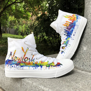 Ethical Sneakers by WEN - Unisex NYC Skyline Hand Painted White Shoes