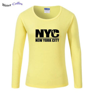 Autumn Winter New York Sweatshirt USA Logo Sleeve Ladies Casual Tee