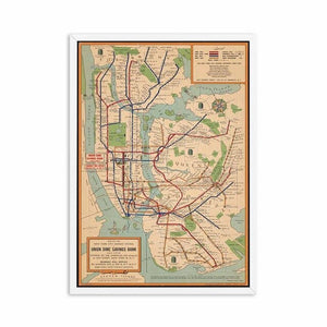 Vintage NYC Subway Map Canvas Poster Living Room Wall Decor