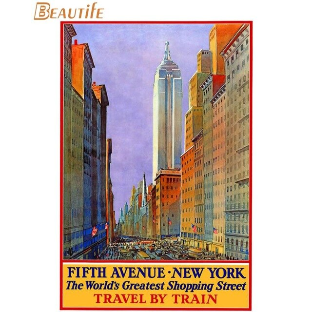 Retro New York City Statue of Liberty Poster Living Room Poster