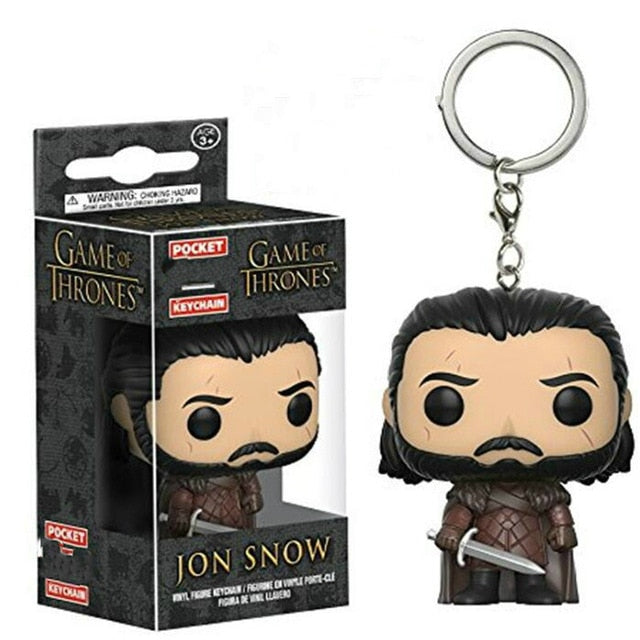Funkos Pops Action Figure Keychain Games of Thrones Jon Snow Daenerys Night King Dragon Tyrion Cartoon Characters Keychain Toys