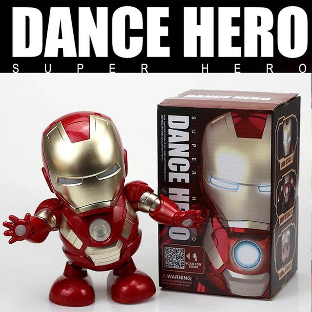 Dance Iron Man Hero Action Figure Toy Led Flashlight With Sound Electronic One Piece Funko  Anime Figure