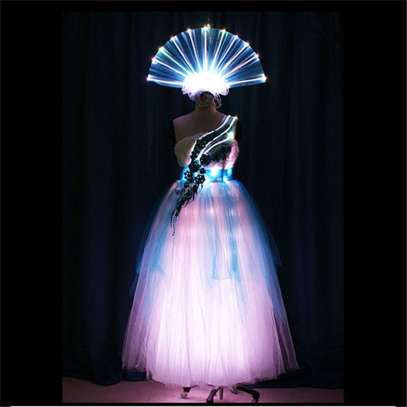 Women programmable full color led light dress party birthday celebrate wears singer skirt evening outfit RGB colorful costume dj